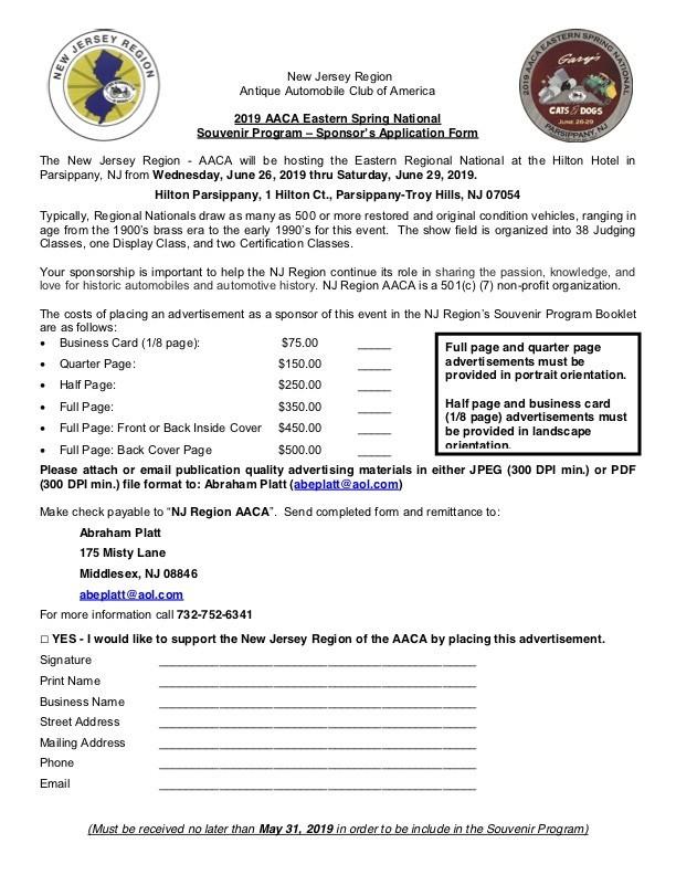 2019 Eastern Spring National Ad Book Sponsor Application Form final - AACA Eastern Spring National